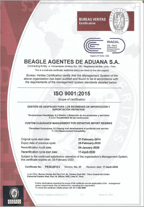 ISO 9001:2015 SISTEMA DE GESTIÓN DE LA CALIDAD