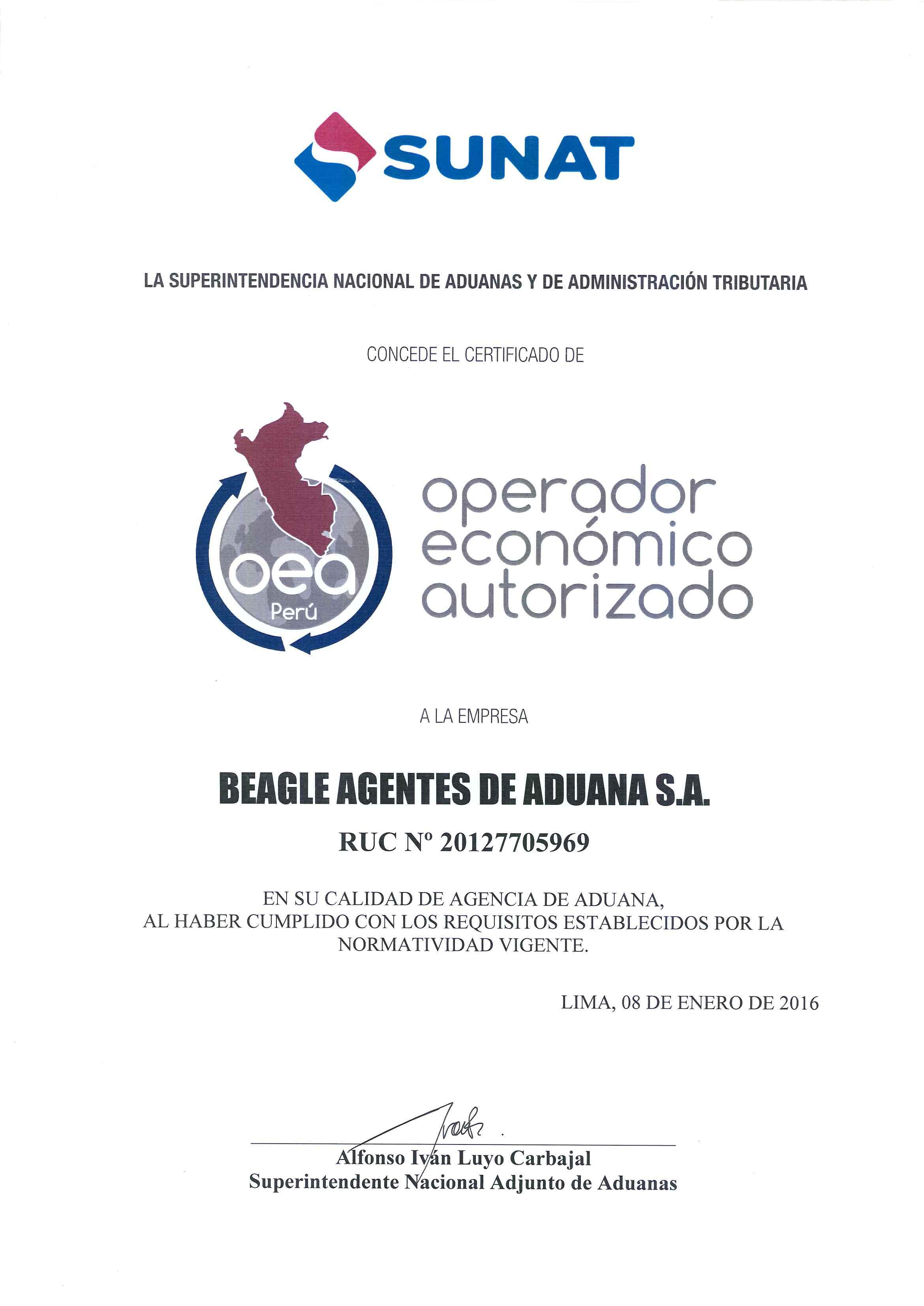CERTIFICACION OEA - OPERADOR ECONOMICO AUTORIZADO