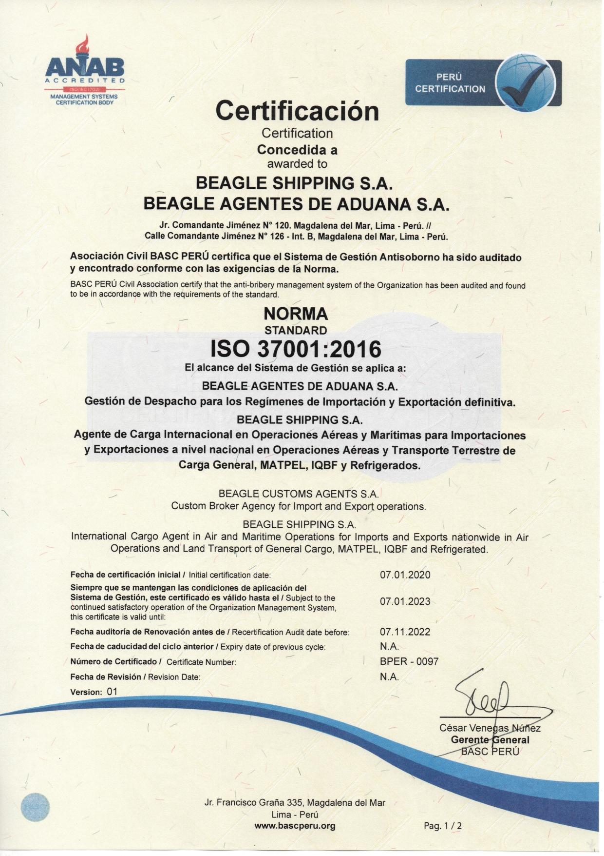 ISO 37001: 2016 SISTEMA DE GESTIÓN ANTISOBORNO